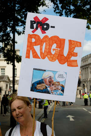 London, United Kingdom, August 31st 2019:- Protesters in Whitehall, Central London protesting Prime Minister Boris Johnson's plan to suspend Parliament for five weeks Reklamní fotografie - 132333773