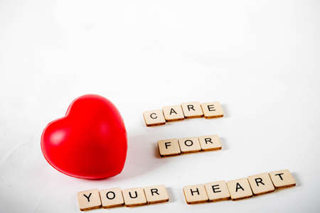 Healthcare concept showing a heart and the message care for your heart