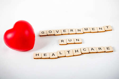 Healthcare concept showing a heart and the message government run healthcare