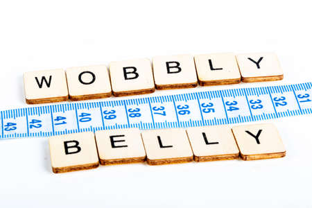 Health concept of a tape measure also showing the message Wobbly Belly