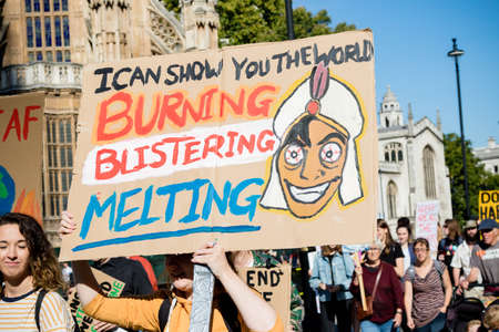 London, United Kingdom, 20th September 2019:- Climate Change Protesters gather in Westminster, central London near the British Parliament as part of a global day of protest Reklamní fotografie - 132419025