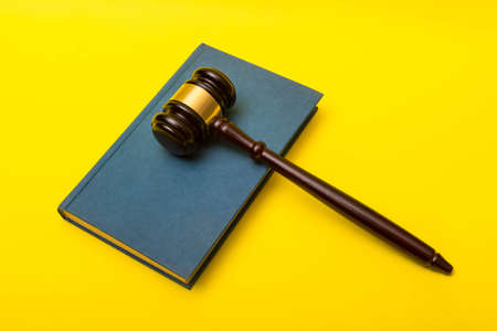 Crime or justice concept showing a gavel on a book of law with a yellow background Reklamní fotografie