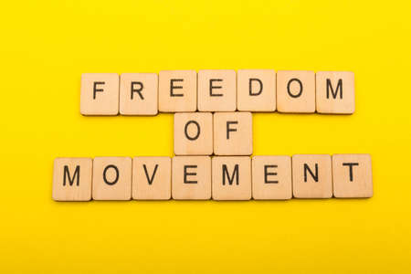 European union concept showing a sign reading Freedom of Movement