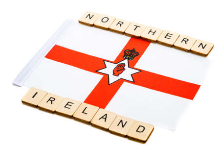 The national flag of Northern Ireland on a white background with a sign reading Northern Ireland