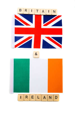 The national flag of the United Kingdom and the Republic of Ireland on a white background with a sign reading Britain & Ireland