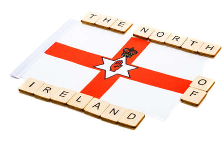 The national flag of Northern Ireland on a white background with a sign reading The North of Ireland