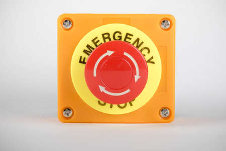 An industrial emergency stop button Imagens