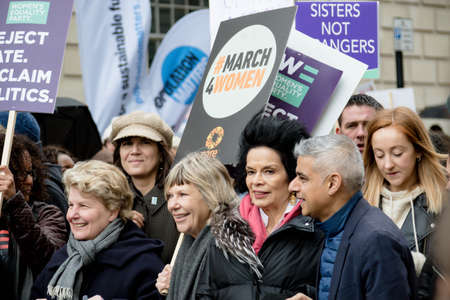 London, United Kingdom, March 8th 2020:- The March For Women hosted by Care International. Pictured Mayor of London Sadiq Khan and Broadcaster Sandi Toksvig Redactioneel