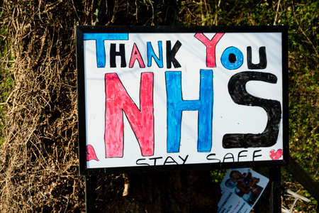 Sandhurst, United Kingdom, 9th April 2020:- A sign thanking the NHS during the lockdown due to the Covid-19 outbreak