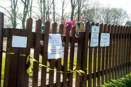 Yateley, United Kingdom, 9th April 2020:- Taped off children's play equipment on advice from the British Government due to the Covid-19 outbreak