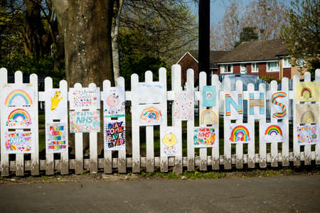 Sandhurst, United Kingdom, 9th April 2020:- Signs explaining the closure of a play park on advice from the British Government due to the Covid-19 outbreak