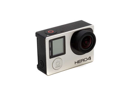 London, United Kingdom, 21st September 2020:- A GoPro Hero4 camera isolated on a white background