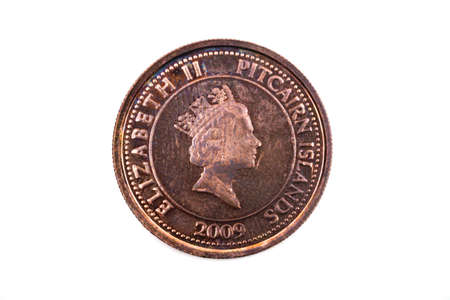 A close up view of a Ten Cents coin from the Pitcairn Islands