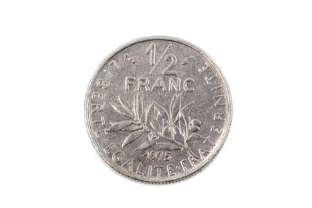 A close up view of French pre-euro Half Franc Coin Stock Photo