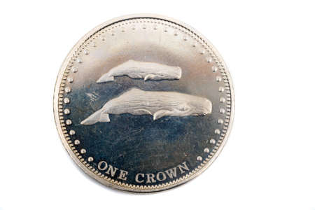 A close up view of a One Crown Coin from Tristan Da Cunha