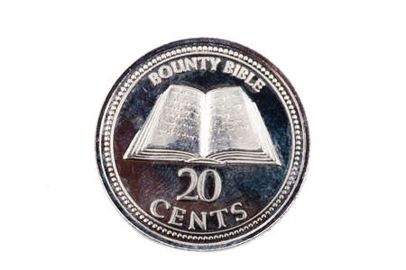 A close up view of a Twenty Cents coin from The Pitcairn Islands