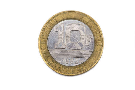 A close up view of a French Ten Francs pre-Euro coin