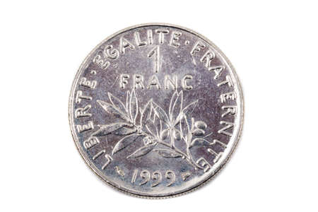 A close up view of a French pre-Euro One Franc Coin Stock Photo