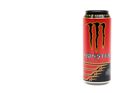 London, United Kingdom, 14th October 2020:- A Can of Monster Lewis Hamilton Energy Drink Isolated on a white background Redakční
