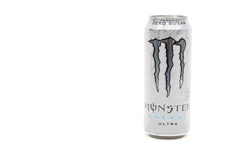 London, United Kingdom, 14th October 2020:- A Can of Monster Zero Sugar Ultra Energy Drink Isolated on a white background Redakční
