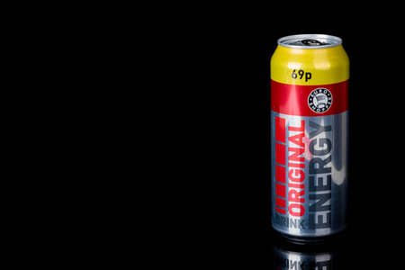 London, United Kingdom, 14th October 2020:- A can of Original Energy Drink Isolated on a black background Redakční