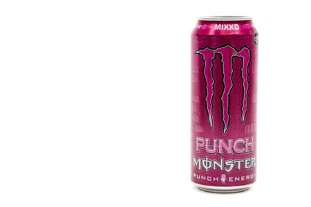 London, United Kingdom, 14th October 2020:- A Can of Monster MIXXD Punch Energy Drink Isolated on a white background Redakční