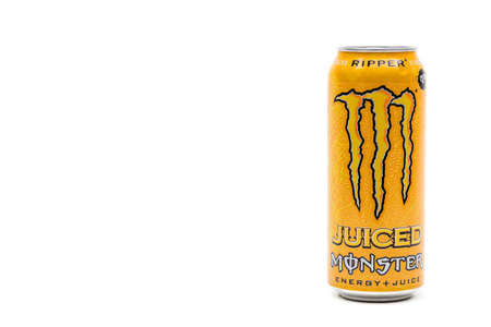 London, United Kingdom, 14th October 2020:- A Can of Monster Ripper Energy Drink Isolated on a white background