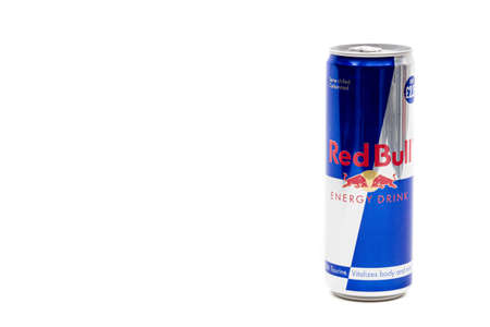 London, United Kingdom, 14th October 2020:- A Can of Red Bull Energy Drink Isolated on a white background