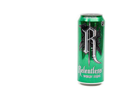 London, United Kingdom, 14th October 2020:- A Can of Relentless Apple Kiwi Energy Drink Isolated on a white background