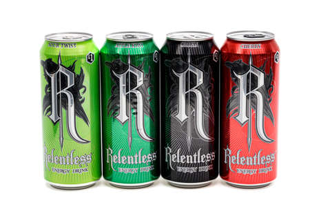 London, United Kingdom, 14th October 2020:- A selection of Relentless Energy Drinks Isolated on a white background