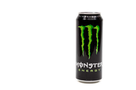London, United Kingdom, 14th October 2020:- A can of original Monster Energy Drink Isolated on a white background Redakční