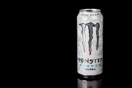London, United Kingdom, 14th October 2020:- A can of Monster Zero Sugar Ultra Energy Drink Isolated on a black background