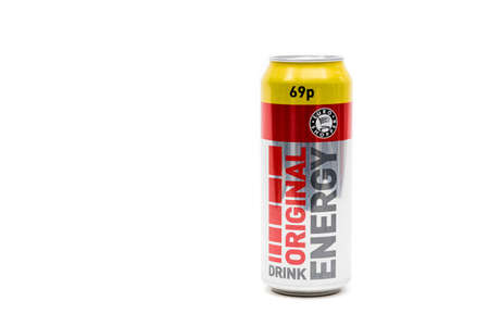 London, United Kingdom, 14th October 2020:- A Can of Original Energy Drink Energy Drink Isolated on a white background