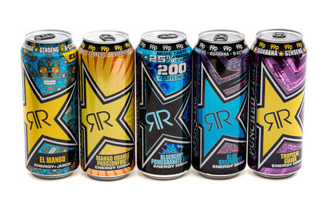 London, United Kingdom, 14th October 2020:- A selection of Rockstar Energy Drinks Isolated on a white background Redakční