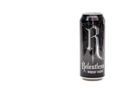 London, United Kingdom, 14th October 2020:- A Can of Relentless Origin Energy Drink Isolated on a white background Redakční