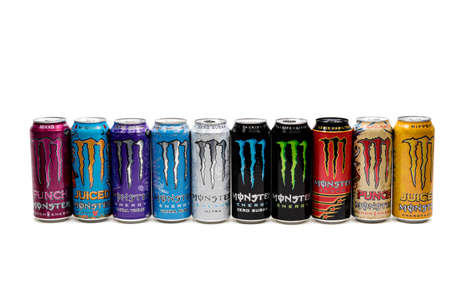 London, United Kingdom, 14th October 2020:- A selection of Cans of Monster Energy Drinks Isolated on a white background
