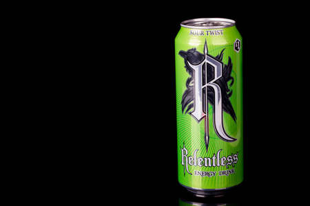London, United Kingdom, 14th October 2020:- A can of Relentless Sour Twist Relentless Energy Drink Isolated on a black background