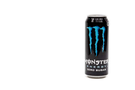 London, United Kingdom, 14th October 2020:- A Can of Monster Zero Sugar Energy Drink Isolated on a white background