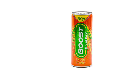 London, United Kingdom, 14th October 2020:- A Can of Boost Energy Exotic Fruits Energy Drink Isolated on a white background
