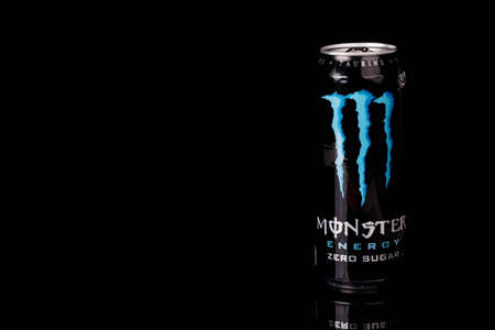 London, United Kingdom, 14th October 2020:- A can of Monster Zero Sugar Energy Drink Isolated on a black background