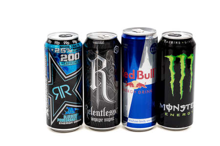 London, United Kingdom, 14th October 2020:- Cans of Rocksar, Reletless, Red Bull & Monster Energy Drinks Isolated on a white background