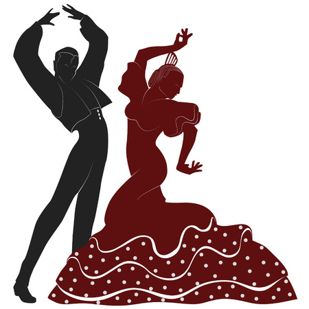 two typical spanish dancers from seville Illustration