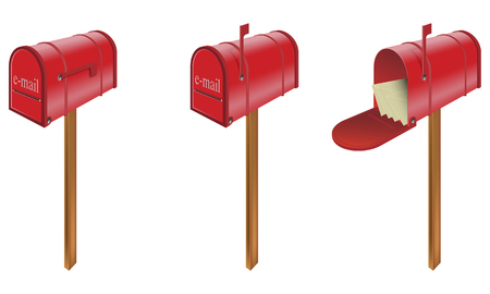 set of three red email mailbox