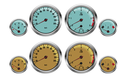 analogical: retro sport car gauges in two colors Illustration