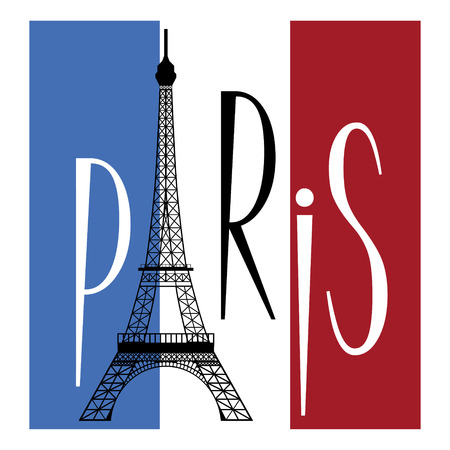 eiffel tower over flag of france and text of paris Illustration