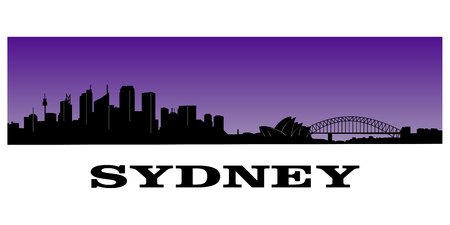 silhouette of sydney s skyline over purple background