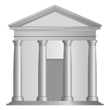 ancient roman temple with tuscany columns Ilustrace