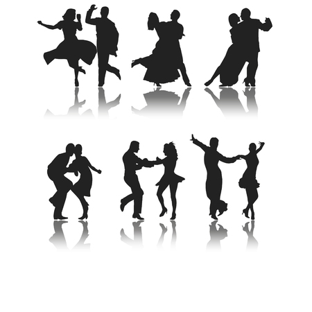 set of six silhouettes of different types of dance Illustration