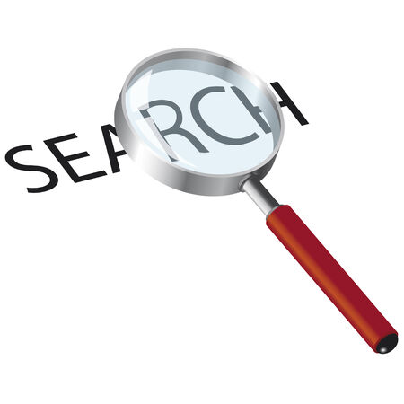 magnifying glass over white and text of searching Illustration