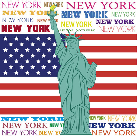 statue of liberty over flag of united states and text of new york